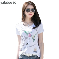 Word Bird 3D Handmade Beading Casual Slim Sexy T Shirts Summer Ladies Cotton O Neck Tees