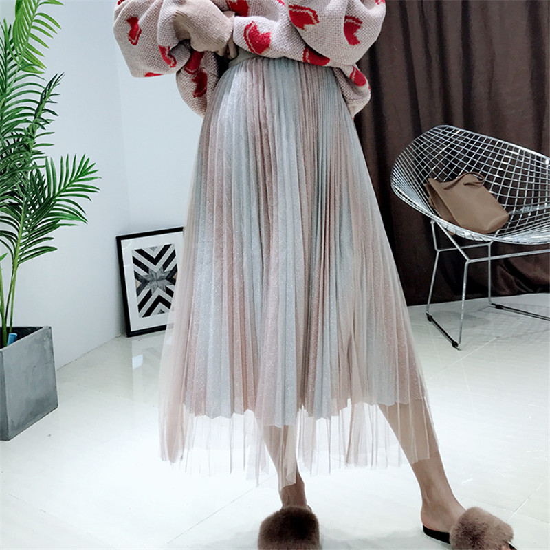 2019 Korean new Spring yarn gradient two color pleated high waist was thin mesh half length skirt female gauze skirts clothes in Skirts from Women 39 s Clothing