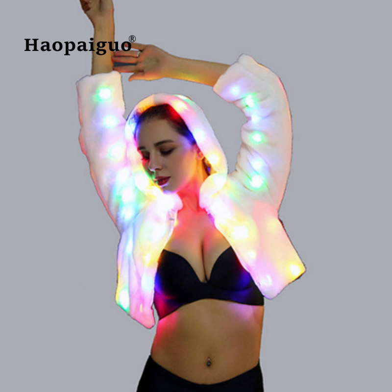 Merry Christmas 2018 Exy Faux Fur Coat Women Multicolor Hooded LED Luminous Lady Party Dance Cosplay