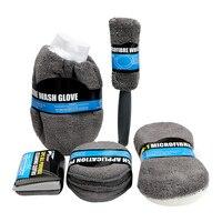 9Pcs Microfiber Car Wash Cleaning Kit Include 3 Microfiber Towels 3 Applicator Pads Wash Sponge Wash