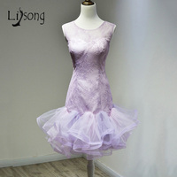 Lavender Lilac Short Mermaid Prom Dresses Sheath Knee Length Women Prom Party Dress Vestidos De Festa