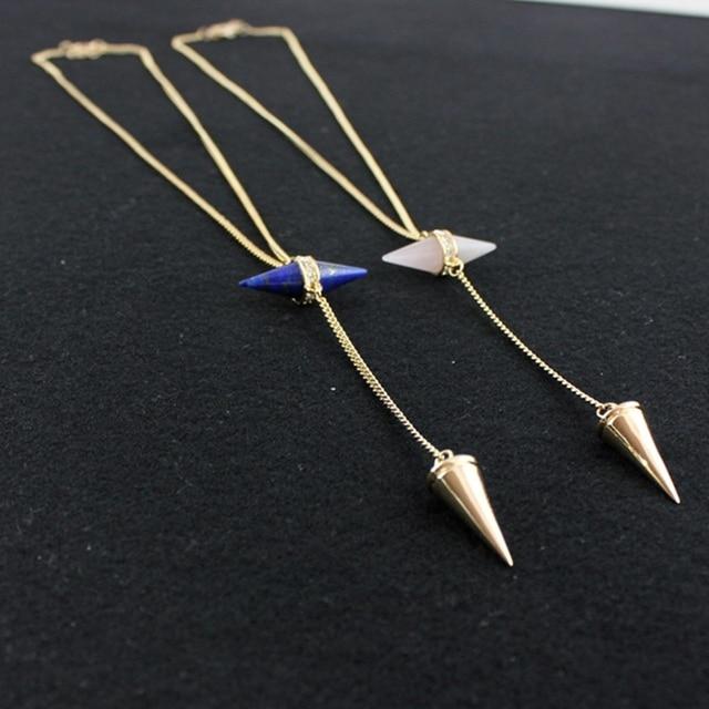 Фото ожерелье chicvie для женщин длинные конические ожерелья и подвески