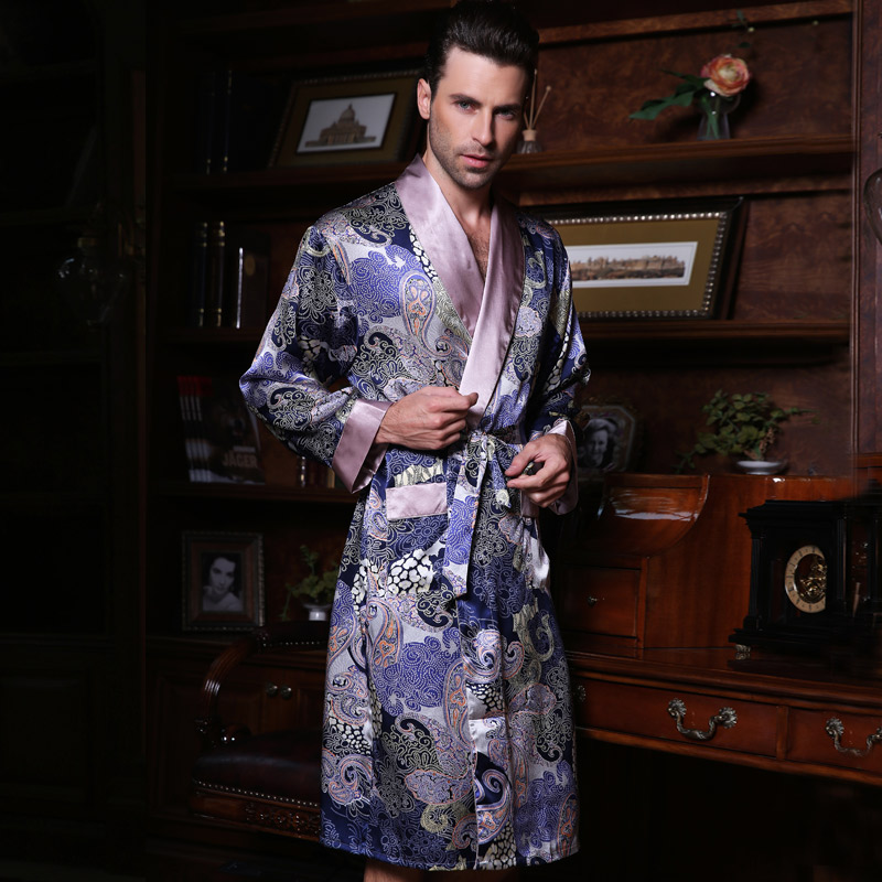 Genuine Silk Sleeping Robes Male Spring Summer Long-Sleeve Fashion Printed Bathrobe Kimono Silkworm Silk Men's Sleepwear 2519