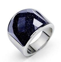 El cielo estrellado hombres anillo 316l titanium anillo negro onyx anillo nunca se desvanecen dominante blanco plateado de navidad regalo