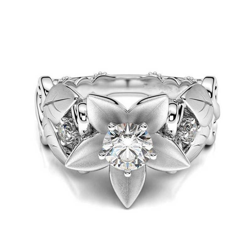 Lnrrabcローズ花指輪ステンレス鋼リング用女性クリスタル中間リングファッションジュエリー卸売ドロップシッピング