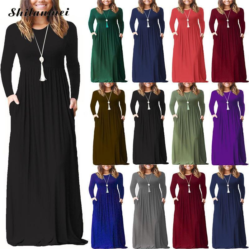 Outono de cintura alta vestido maxi de uma peça grande pêndulo manga longa com bolso até o chão o pescoço vestido sólido vestidos femininos