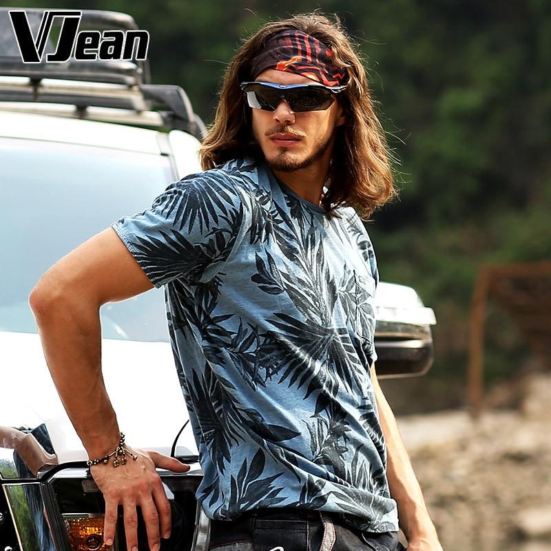 V JEAN font b Men s b font Graphic Print Knit Jean T font b Shirt