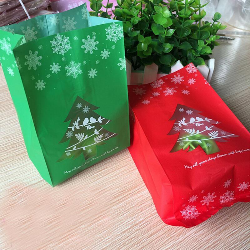 50pcs/lot Kraft Paper Bag Cookie Packaging Bags For Biscuits Snack Candy Merry Christmas Frosted Gifts For New Year Party L35