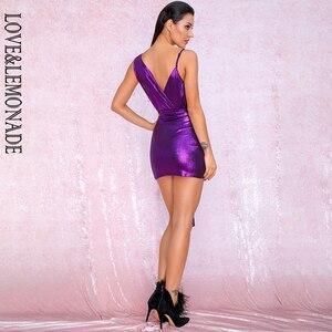 Image 5 - فستان للحفلات عاكس للحفلات من LOVE & LEMONADE ذو رقبة على شكل v باللون الأرجواني المزين بطيات ومزين بشريط مناسب للجسم طراز LM81846