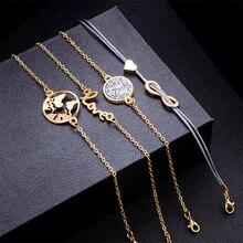 Punk Turtle Map Heart Letter Love Crystal Beads Chain Multilayer Pendant Gold Bracelet Set ( 5 pcs/set)