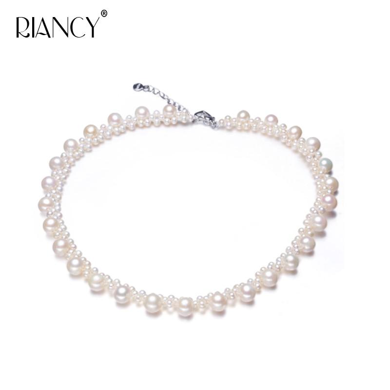 RIANCY naturel collier de perles d'eau douce à la main faisant fantaisie perle chaîne véritable demoiselle d'honneur cadeau pour petite amie