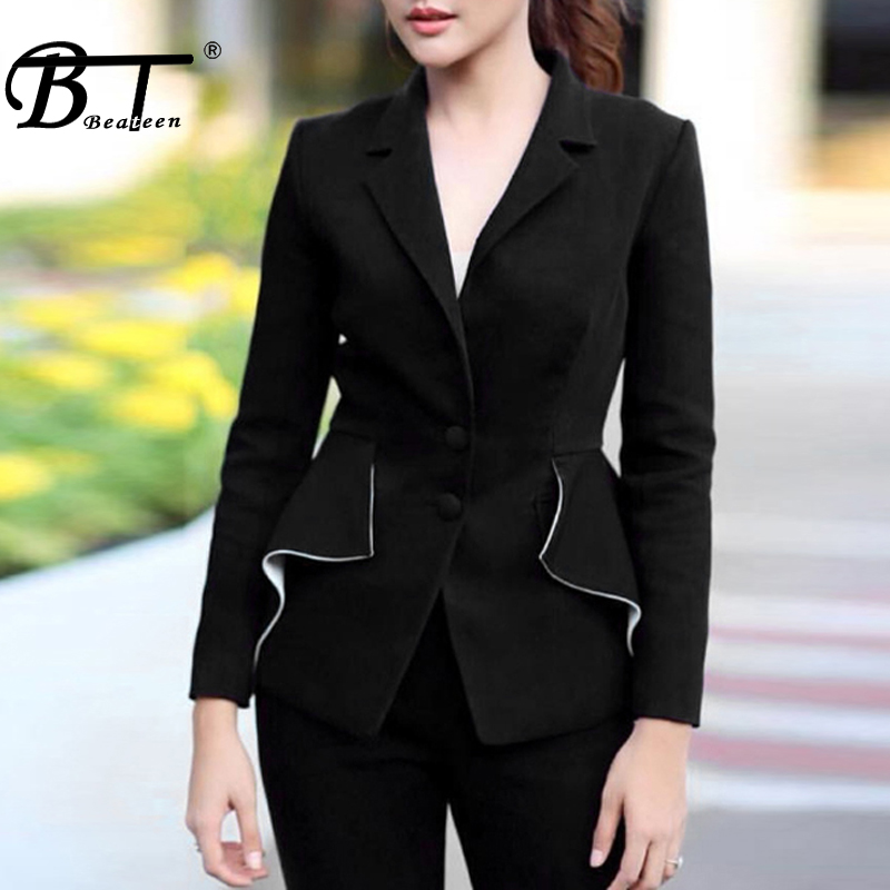 ec38421e5c3 Blazers cou Élégant Beateen Costumes Noir Maigre Mode black V Cut Formelle  Femmes Pantalons Out Ol ...