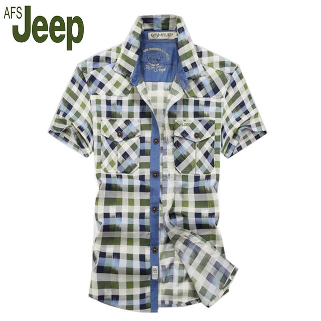 2016 summer fashion AFS JEEP Battlefield Jeep genuine short-sleeved plaid shirt loose large size men's fashion casual shirts 60