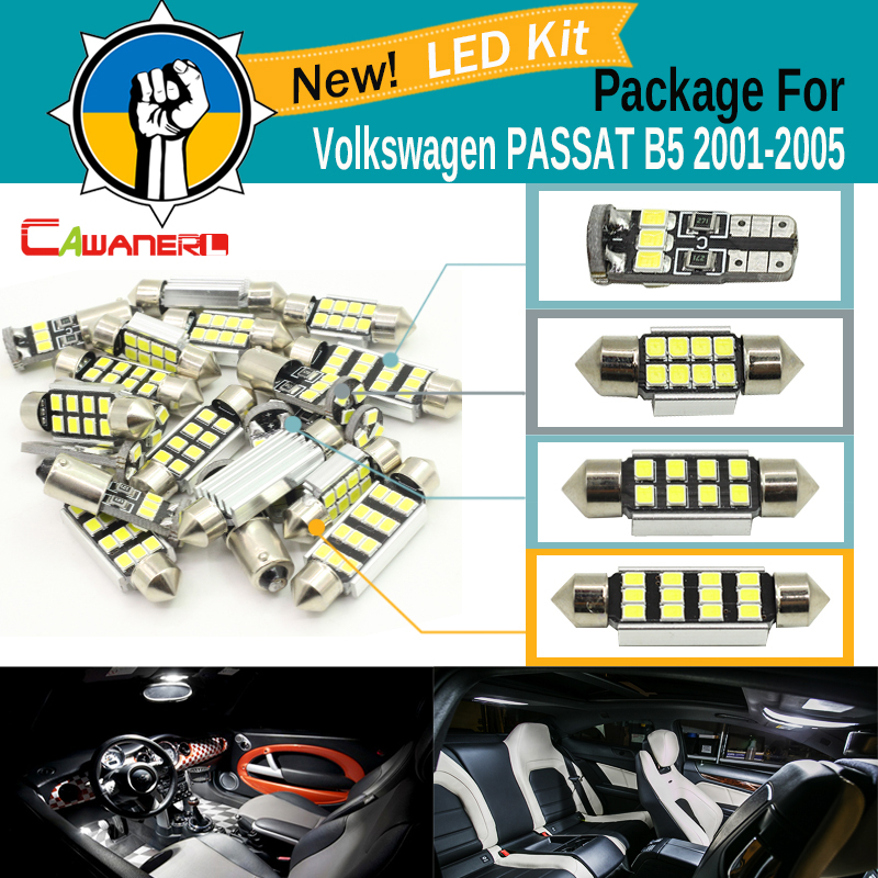 Cawanerl Car 2835 Canbus LED Kit White For VW Volkswagen PASSAT B5 2001-2005 Auto Interior Dome Map Trunk License Plate Lamp for volkswagen passat b6 b7 b8 led interior boot trunk luggage compartment light bulb