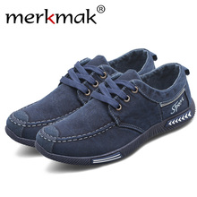 Merkmak Canvas Men Shoes Denim Lace-Up Men Casual Shoes New 2018 Plimsolls Breathable Male Footwear Spring Autumn men footwear