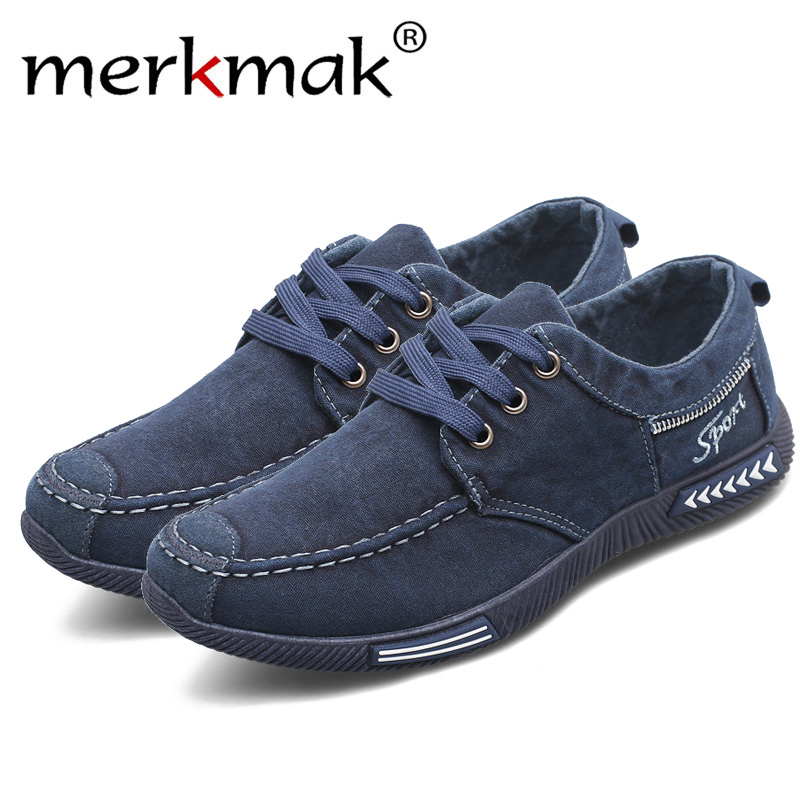 Merkmak zapatos de hombre Denim Lace-Up hombres zapatos Casual Nuevo 2018 zapatillas transpirable masculino calzado primavera otoño hombres calzado