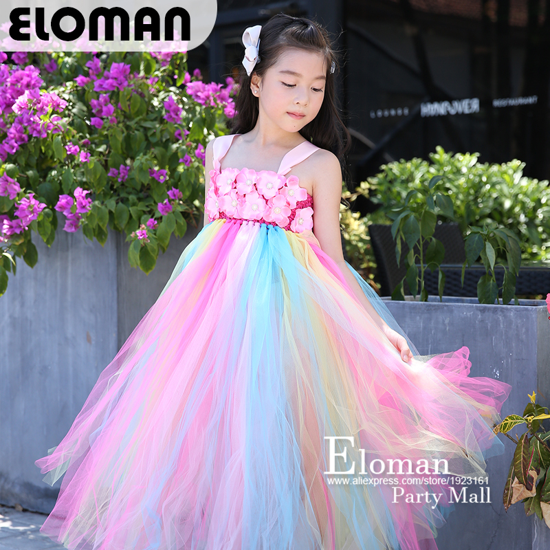 Eloman 100% handmade tutu dress for girl birthday party princess rainbow flower girls dresses for wedding and event parties