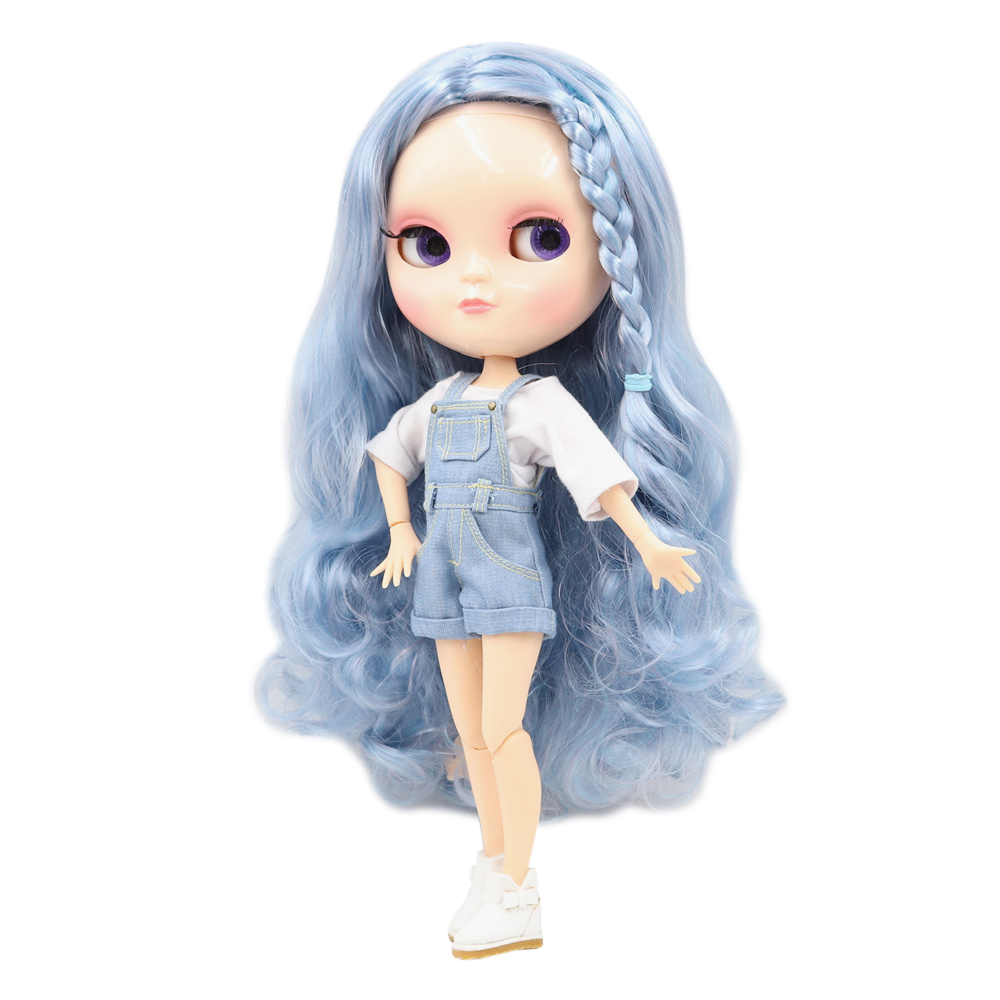 Gelo fortuna dias fábrica corpo comum 30cm pele natural azul dados estilo cachos cabelo diy sd presente brinquedo