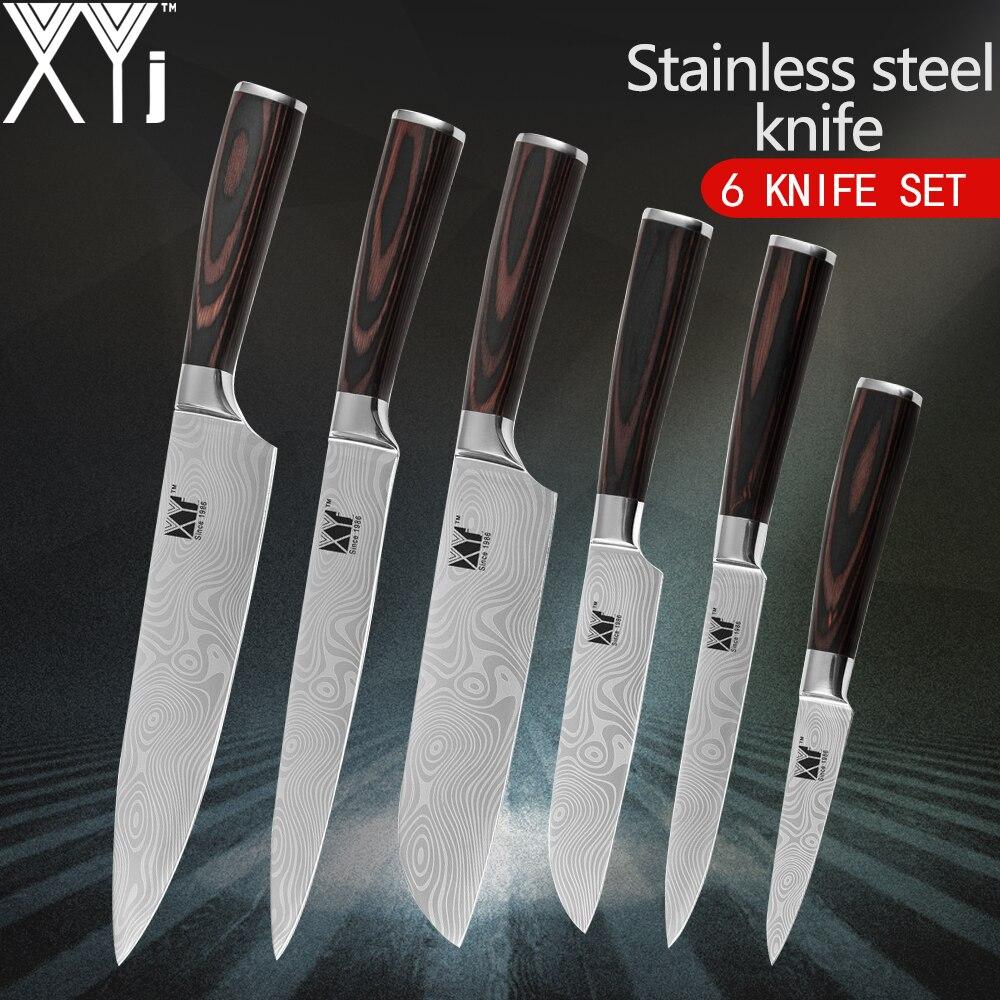 Cuchillos de cocina XYj Damasco venas cuchillos de acero inoxidable de alta calidad Chef rebanado 2 * Santoku Utility Pariing juego de cuchillos de cocina