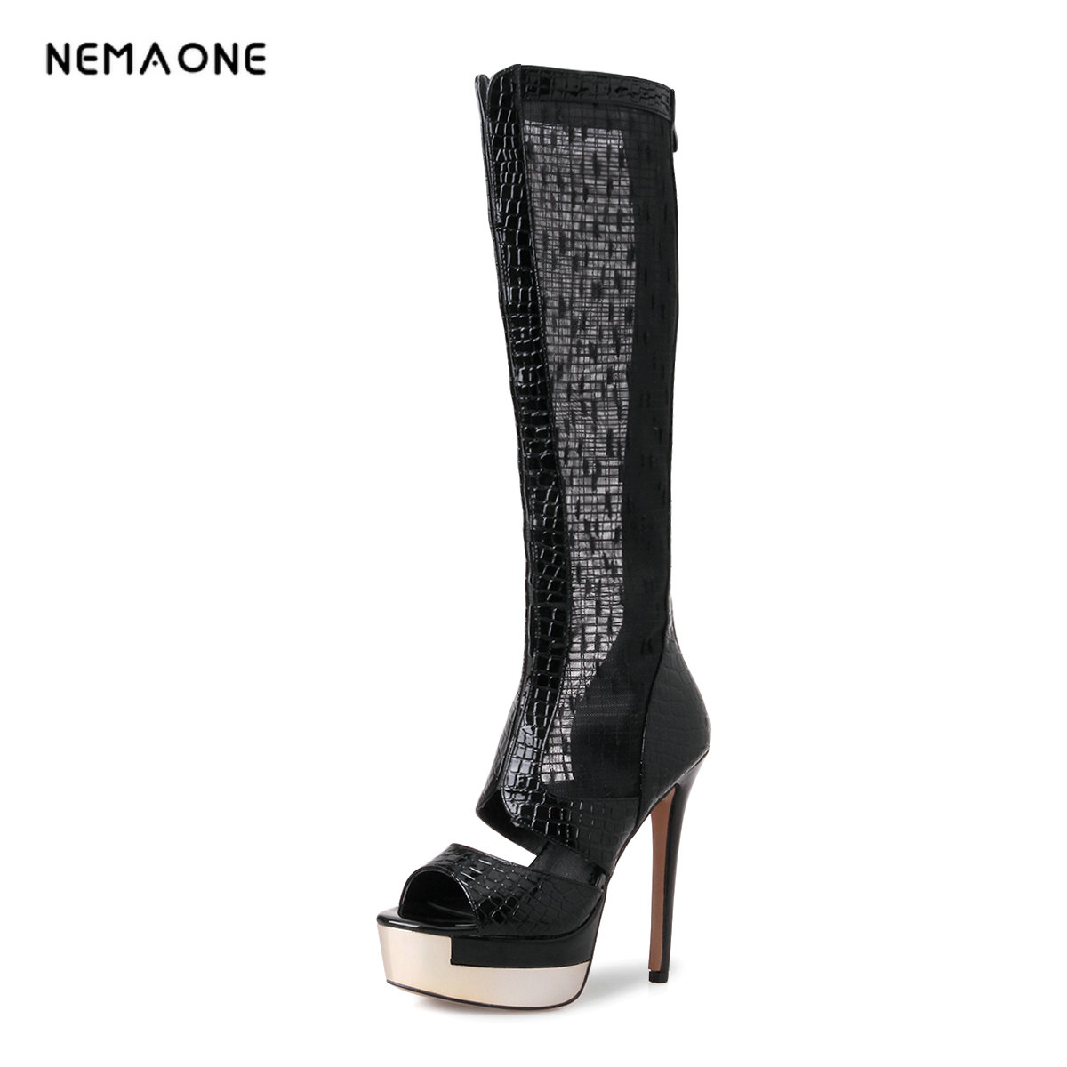 NEMAONE EUR Size 34-40 new fashion knee high boots peep toe summer boots for women high heels party dress shoes woman