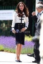 Vestido de manga comprida, kate Middleton princesa Patchwork fino bloco de cor elegante vestidos de trabalho 1103