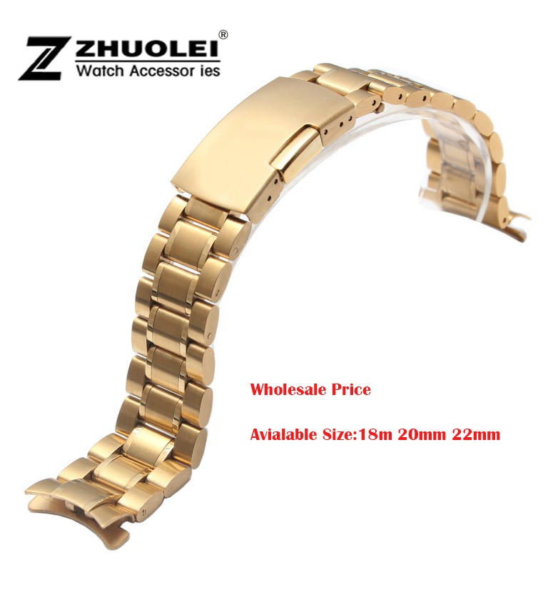 NEW Mens Womens PVD Gold Stainless Steel Solid Links Watch Band Strap Bracelet Curved End 18mm 20mm 22mm цена