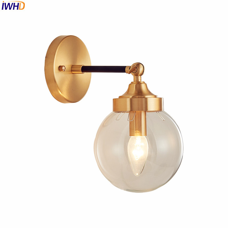 Nordic Glass Ball Wall Lamp Living Room Bedroom Copper Led Wall Light Home Lighting Stair Lights Applique Murale Luminaire Led Lamps