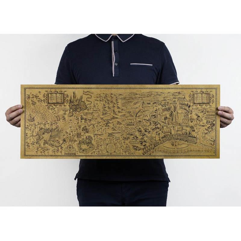 Ingyenes szállítás, Harry Potter Magic világtérkép A híres kilátás / kraftpapír / kávézó / bár poszter / Retro poszter / dekoratív festmény 72x26cm