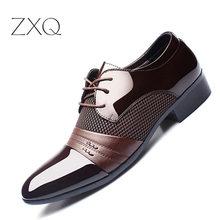 ZXQ Men Dress Shoes Plus Size 38 48 Men Business Flat Shoes Black Brown Breathable Low