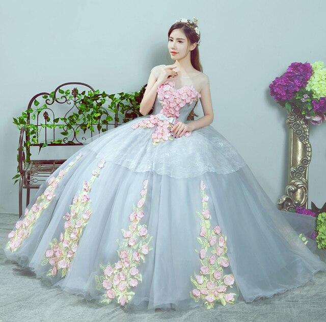 Vestido De Noiva New Ball Gown Color Wedding Dress O neck Flowers ...