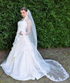 Vintage Long Lace Bridal Wedding Veils One Layer Chaple Train Full Lace Edge White Tulle Comb Bridal Veil Wedding Veil Cheap Hot