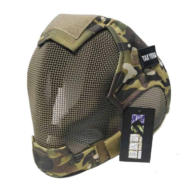 TAK YIYING Airsoft Mask Full Face Mask Military War Game Steel Mesh Paintbal Head Protective Mask Tactical Full Cover V6 Mask
