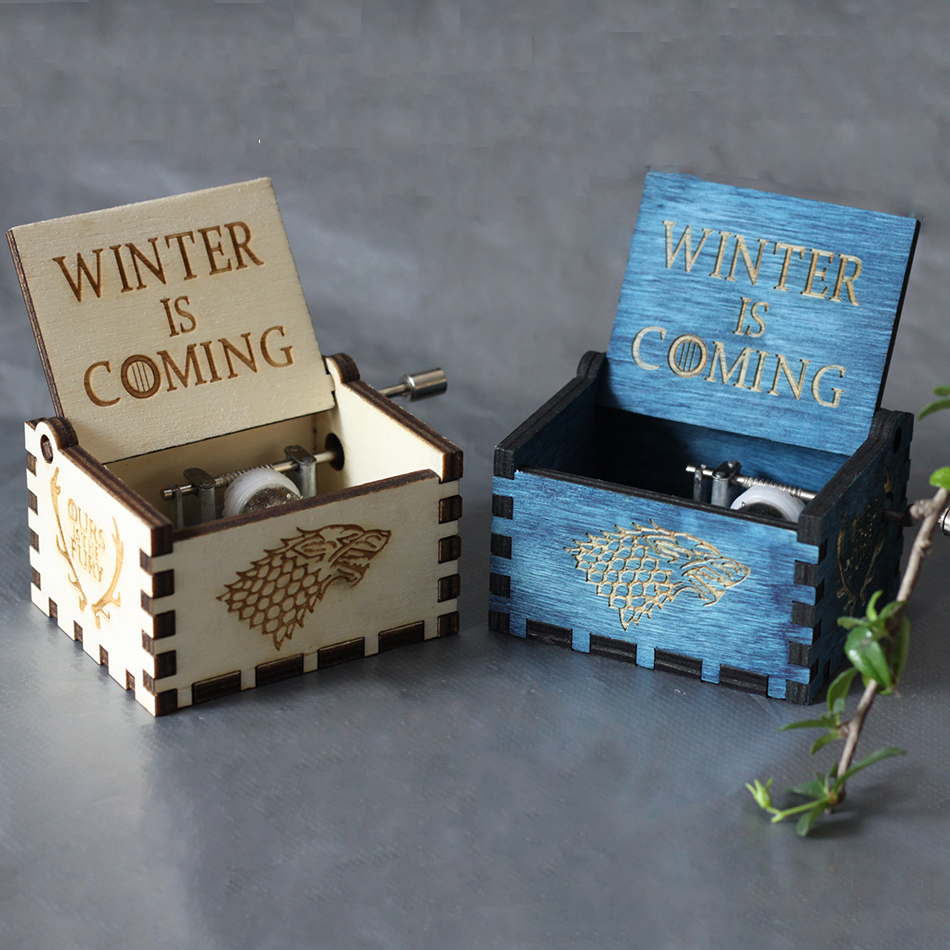 2018 Game of Thrones Music Box Antique Carved Harry Potter Music Box Star Wars Wooden Hand Crank Theme Music Caixa De Musica