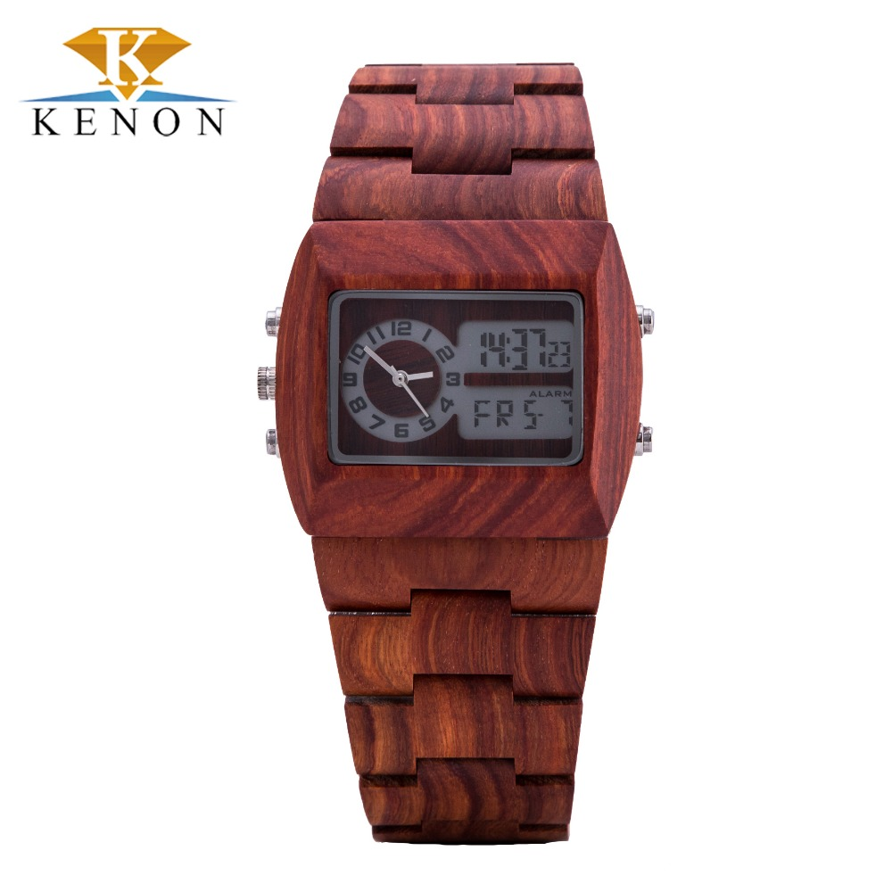2016 100% Nature Fashion Red Sandalwood Mens Wrist Watch Casual Wooden Watch Top Band Luxury Japan Movement Watch as Gift Item