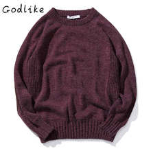 GODLIKE 2017 Autumn Winter Round Neck hedging Sweater Men Fashion Solid Slim Knitting Pullover Male homme Casual Clothingothing