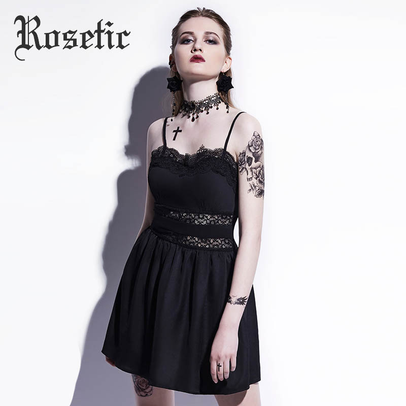 34031ab8741 Rosetic Gothic Mini Dress Summer Hollow Patchwork Sexy Women Goth Dress Sexy  A-Line Street Preppy Camis Strapless Gothics Dress