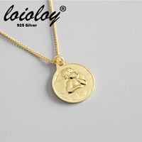 Loioloy 2019 New Necklace Angel Wing Charm Golden Real 925 Silver Necklace For Women