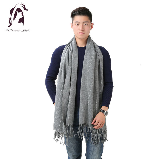 [YWJUNFU] 2016 Winter Cotton Scarf Brand Men Scarves Wool Warm Shawl Cashmere Long Tassel Women Wraps YJF006