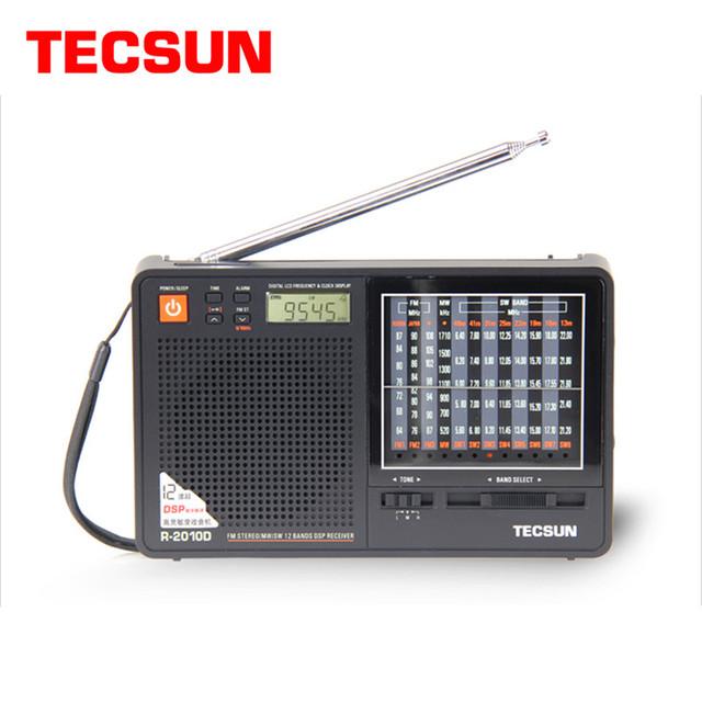Recién llegado de tecsun r-2010d full band radio receptor digital fm/mw/sw radio con pantalla led de alarma de reloj reproductor de música portátil