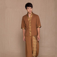 Free Shipping Men's Thai Massage Clothing Health Club V Neck Cotton Linen Top+Pants Thailand Fashion SPA Uniform Wholesales