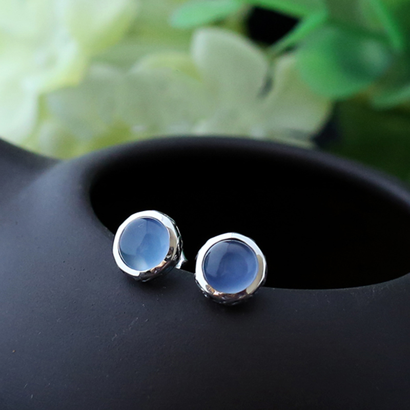 925 sterling silver jewelry Blue Chalcedony retro High quality female jewelry natural semi precious stones 0.9cm round earrings 925 sterling silver jewelry natural semi precious stones retro yellow chalcedony earring classical retro girlfriend gift