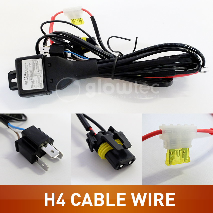For HID Hi Lo H4 Bi-Xenon Bulb wire Relay Controller Wiring Cable Harness H4 Type GLOWTEC