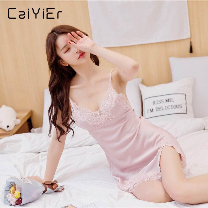 Caiyier 2018 Women Sexy Nightgowns Lace Sleepwear Chemises Sleeveless Spaghetti Strap Underwear Female Lingerie Nightwear YX3120