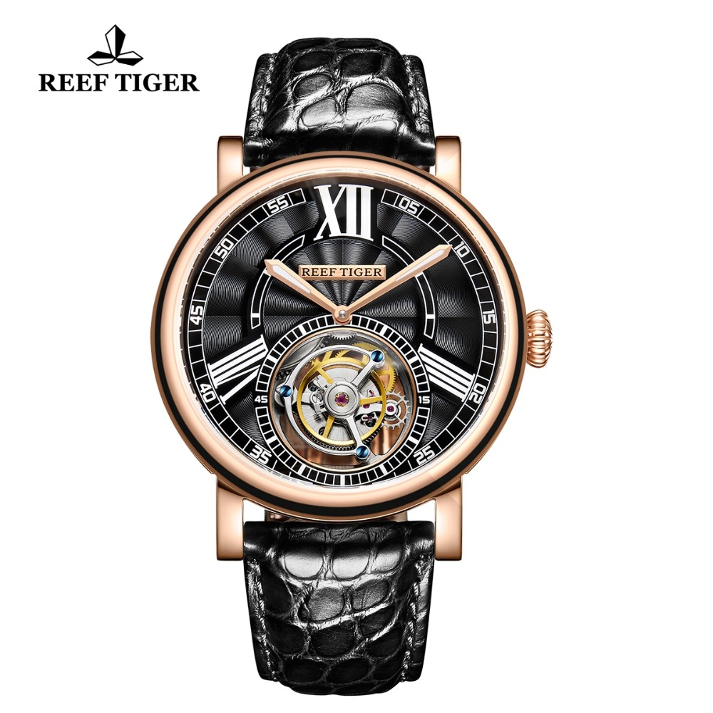 Reef Tiger/RT Luxury Casual Watches for Men Rose Gold Alligator Strap Tourbillon Automatic Watches RGA1999