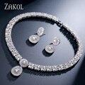 ZAKOL Nueva Llegada de Moda 4 Color Opción AAA + CZ Del Diamante Unisex Collar y Aretes de Platino Plateado Para El Partido FSSP232