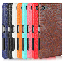 For Sony Z5 Compact E5803 Crocodile Pattern Hard PCwith PU Leather Back Cover Case for Sony Xperia Z5 Compact Z5Mini E5803 E5823 аккумулятор для телефона craftmann lis1594erpc для sony xperia z5 compact xa ultra e5823 e5803