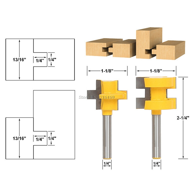 For 2Pcs 1/4'' Shank Tongue & Groove Router Cutter Tenon Line Bit Woodworking Tool Promotion 2pcs 1 4 shank tongue