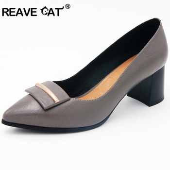 REAVE CAT 2019 New arrive Spring summer Shoes woman Genuine leather Cow leather Women's pumps Pointed toe High quality Work E078