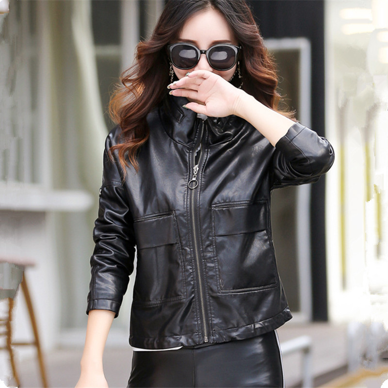 2019 Winter New   Leather   Jacket Women Fashion Pu Coat Female Solid Stand Collar Big Pockets Loose Women's   Leather   Jacket M-3XL