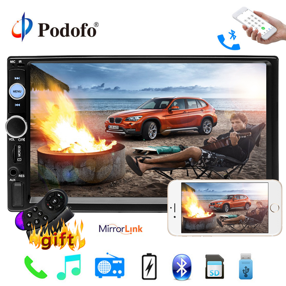 "Podofo 2 Din Car Radio 7"" Multimedia Player Autoradio 2din Audio Radio Bluetooth Media MP5 Player with IOS/Android Mirror Link"
